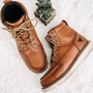Natha Studio Men's Brown Leather Lace Up Boots